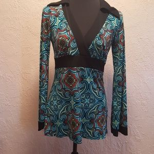Bisou Bisou Black Turquoise Tunic sz Small